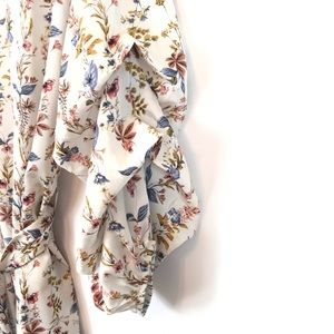 easel Tops - Easel Chiffon Floral Print Belted Ruched Sleeves